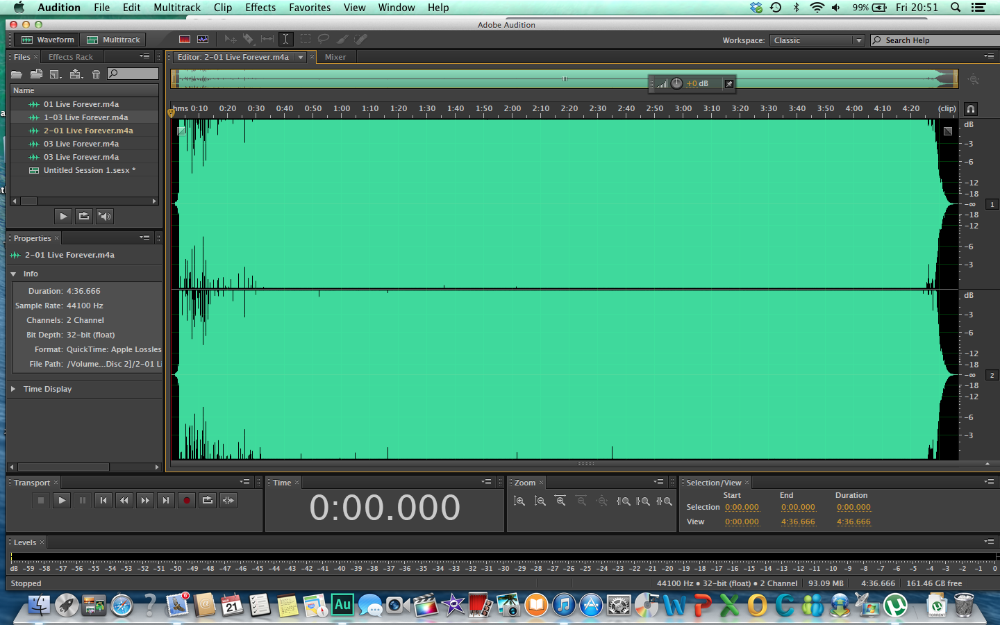 Waveforms of Live Forever of Stop the Clocks (top) and Time Flies (bottom)
