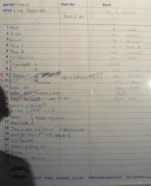 "Sawmills Studio tracking sheet for Live Forever. Photo taken by the author at the ""Chasing the Sun: Oasis 1993 - 1997"" exhibition (Londonewcastle project space, Shoreditch, April 2014)."